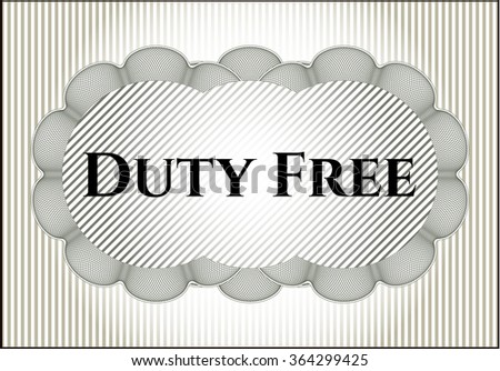 Duty Free retro style card, banner or poster