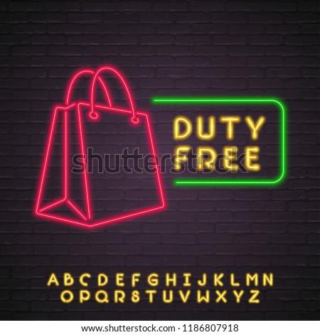 Duty Free Shop Neon Light Glowing Vector Illustration Alphabet Neon