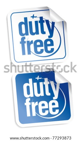 Duty free stickers set - stock vector
