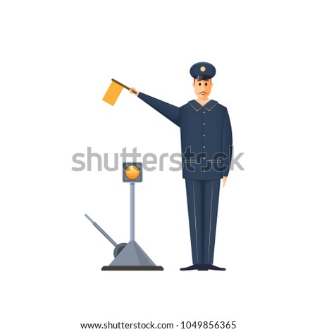 Duty railroader, officer at station is signaling, with flag in his hand, giving signals to the train, crew for further actions. Employee, platform controller of railway station. Vector illustration.