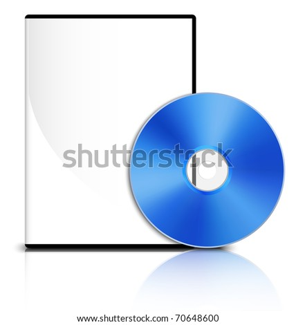 DVD case with a blank cover and shiny blue DVD disk, Vector