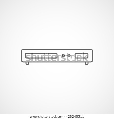 DVD Player Line Icon On White Background