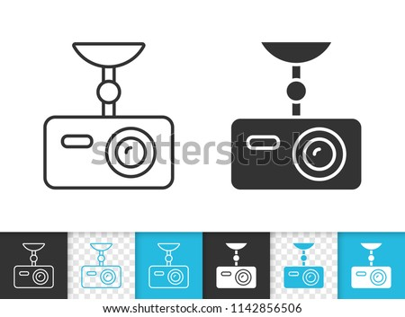 Dvr black linear and silhouette icons. Thin line sign of driver video recorder. Camera outline pictogram isolated on white, blue, transparent background. Vector Icon shape. Dvr simple symbol closeup
