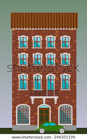 Dwelling house. Classical town architecture. Vector historical building. City infrastructure. Cityscape old red brick house. Real estate. Urban village landscapes elements. Townhouse facade. Green car
