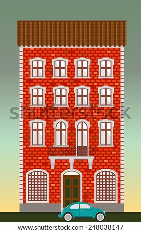 Dwelling house. Classical town architecture. Vector historical building. City infrastructure. Cityscape old red brick house. Real estate. Urban village landscapes elements. Townhouse facade. Blue car.