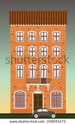 Dwelling house. Classical town architecture. Vector historical building. City infrastructure. Cityscape old red brick house. Real estate. Urban village landscapes elements. Townhouse facade. Gray car.