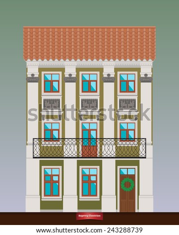 Dwelling house in Classicism style. Classical town architecture. Vector building. City infrastructure. Cityscape old beautiful building. Real estate. Elements for urban village landscapes. Townhouse.