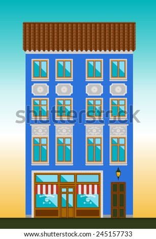 Dwelling house in Classicism style. Classical town architecture. Vector historical building. City infrastructure. Cityscape old cafe. Real estate. Elements for urban village landscapes. Townhouse.