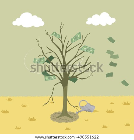 dying money tree  vector