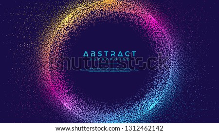 Dynamic abstract liquid flow particles background. Abstract particles circle background. Eps10 Vector background.