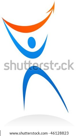 Dynamic abstract person symbol - vector illustration