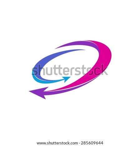Dynamic arrows in circle company logotype