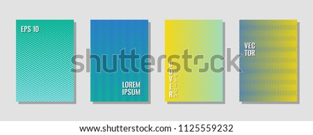 Dynamic blue zig zag banner templates, wavy lines gradient stripes backgrounds for educational cover. Curve shapes stripes, zig zag edge lines halftone texture gradient poster backgrounds collection. #1125559232