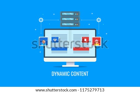 Dynamic content, behavioral content marketing, engaging user content flat design vector illustration with icons