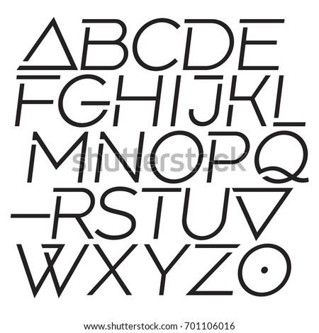 Dynamic elegant type. Modern vector geometric sans serif font