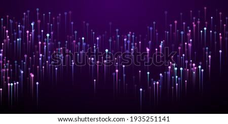 Dynamic glowing line rays fiber optics vector. Geometric neon purple light elements. Social science lines shift up visual wallpaper. Fiber optics progressive background.