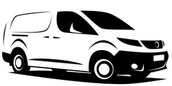 Dynamic illustration of a small commercial delivery van used for transporting cargo. It can be used as a logo.