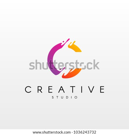 Dynamic Letter C Logo. Logo Design with Dynamic Splash Liquid.
