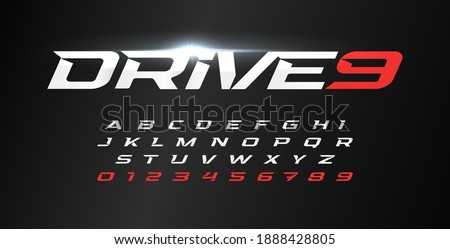 Dynamic letters and numbers set. Drive alphabet, dynamic font, wind type for modern sport logo, motion headline and action lettering. Vector typographic design. Stock fotó ©