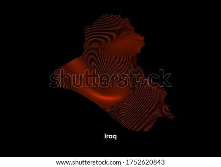 Dynamic Line Wave map of Iraq. Twist lines map of Iraq. Iraq Political Map