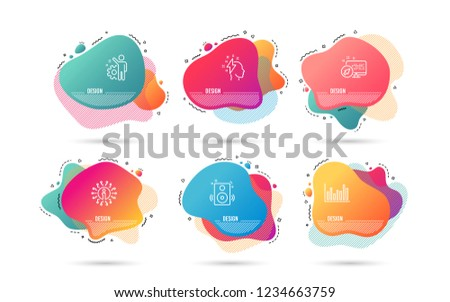 Dynamic liquid shapes. Set of Speakers, Brainstorming and Employee icons. Bar diagram sign. Sound, Lightning bolt, Cogwheel. Statistics infochart.  Gradient banners. Fluid abstract shapes. Vector