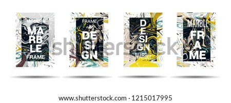 Dynamic Marble Texture Frame Vector Layout. Liquid Paint Suminagashi Futuristic Ad, Music Poster, Motivational Card, Cover Background. Abstract Marble Texture Design with Text, Gradient Overlay Border #1215017995