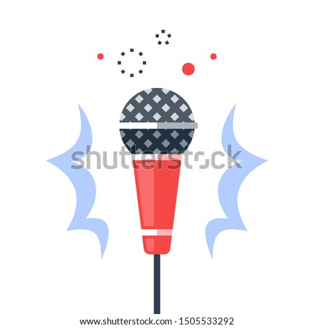 Dynamic microphone, open mic comedy stand up, performance event, live music, karaoke, master of ceremonies or emcee, talk show, podcast or broadcast, sound recording studio, vector flat illustration