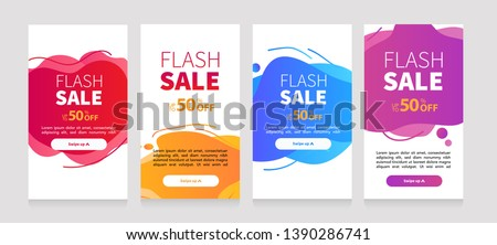 Dynamic modern fluid mobile for flash sale banners. Sale banner template design, Flash sale special offer set #1390286741