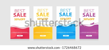 Dynamic modern fluid mobile for flash sale banners. Sale banner template design, Flash sale special offer set