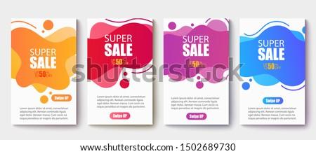 Dynamic modern fluid mobile for sale banners. Sale banner template design, Super Sale set.Vector illustration EPS 10
