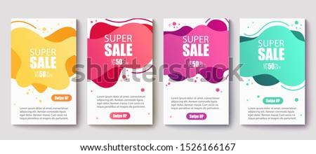 Dynamic modern fluid mobile for sale banners. Sale banner template design, Super Sale set.Vector illustration
