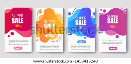 Dynamic modern fluid mobile for sale banners. Sale banner template design, Super sale special offer set.Vector illustration #1458413240