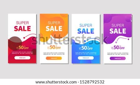 Dynamic modern fluid mobile for sale banners. Sale banner template design, Super sale special offer set. Vector illustration