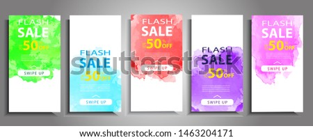 Dynamic modern watercolor mobile for sale banners. Sale banner template design, Flash sale special offer set and can use for web banner pop ads, half-page ads and rectangle ads