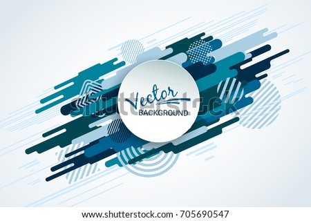 Dynamic motion of geometric shapes. Blue flat shape on white background. Colorful futuristic abstract image. Template for the design of packaging, books, banners, stickers, invitations. Vector.