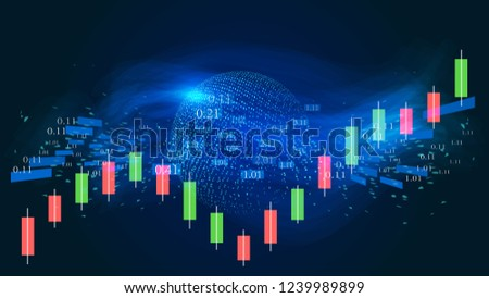 Dynamic particle sphere, flow data and K graph are used to construct the vector background of technology effect of financial stock market data