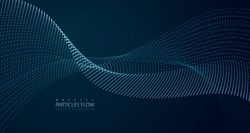 Dynamic particles sound wave flowing over dark. Blurred lights vector abstract background. Beautiful wave shaped array of glowing dots.