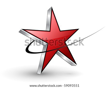 dynamic red star, vector. - stock vector