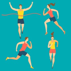 Dynamic running people set. Front and side view. Sport and healthy lifestyle illustration for your design.