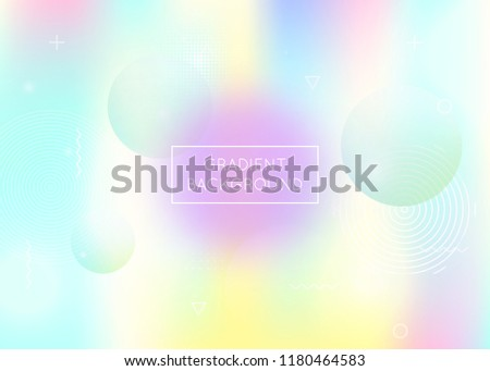Dynamic shape background with liquid fluid. Holographic bauhaus gradient with memphis elements. Graphic template for brochure, banner, wallpaper, mobile screen. Fluorescent dynamic shape background.