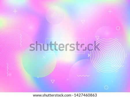 Dynamic shape background with liquid fluid. Holographic bauhaus gradient with memphis elements. Graphic template for book, annual, mobile interface, web app. Spectrum dynamic shape background.