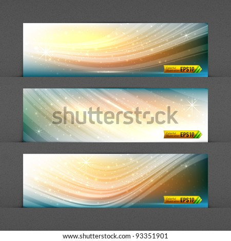Dynamic Solar Fields Banners | Highly Detailed Noise Texture in Background | EPS10 Vector Graphic | Layers Organized and Named