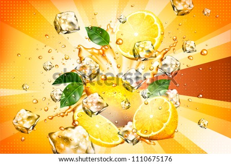 Dynamic splashing juice with sliced fruit and ice cubes element in 3d illustration