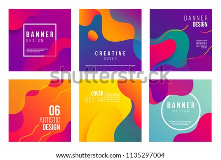 Dynamic style cards Design Collection of Colorful templates with geometric shapes, patterns with trendy elements. Ideal for ad, invitation, presentation, promotion, web, social media, header