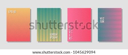 Dynamic zig zag lines gradient texture curves background for scientific cover. Wavy stripes and zig zag vector halftone lines texture catalog covers collection in pink, turquoise and yellow. #1045629094