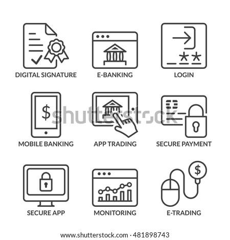 e-banking icons set, line black color