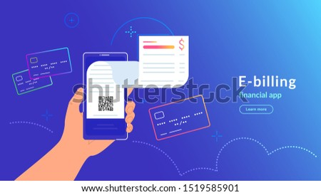 E-billing and payment by credit card via electronic wallet. Vector gradient illustration of human hand holding smartphone with electronic bill notification flying out of the screen for connected card