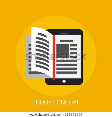 e book concept in flat design
