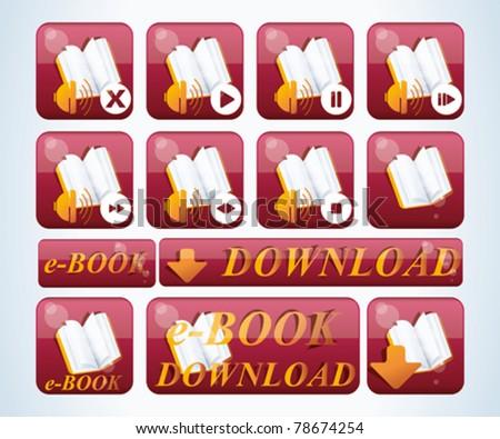 e-book icon set - stock vector