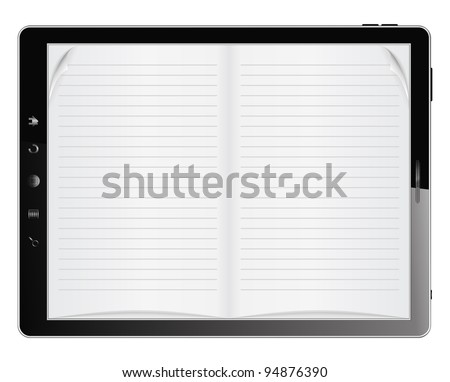 E-Book in Tablet PC, vector eps10 illustration